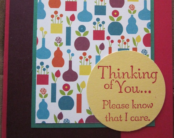 Brightly Colored Thinking of You Card.  Suitable for everyday or get well; handmade Stampin' Up! thinking of you card; care card