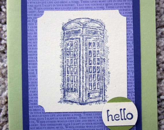 Hello greeting card; handmade Stampin' Up! greeting card; say Hello, blank greeting card with hello; telephone booth hello card