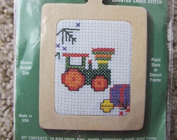 Counted Cross Stitch Train ornament/ Small Cross Stitch project / Small needlework ornament / Train counted cross stitch