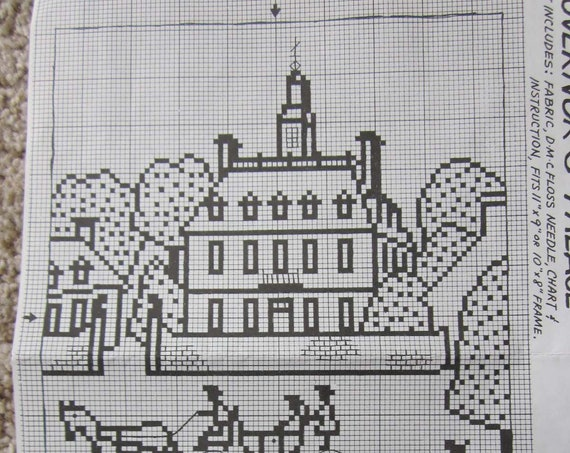 Colonial Williamsburg Counted Cross Stitch Project Kits / Governor's Palace and Williamsburg Capitol cross stitch kits