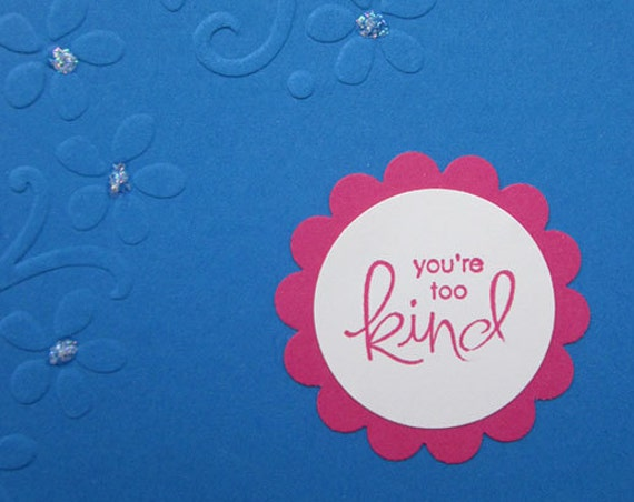 Handmade Thank You Card in bright blue and pink featuring textured embossed flowers