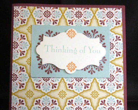 Handmade Brightly Colored Thinking of You Card.  Suitable for everyday or get well; Stampin' Up! thinking of you card