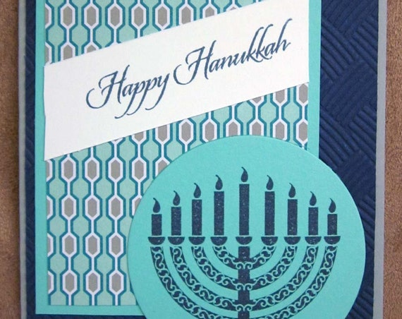Set of 5 Happy Hanukkah cards; Jewish holiday cards, featuring menorah