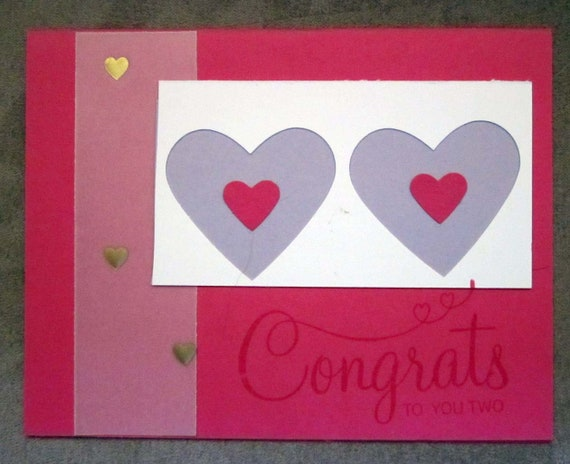 Handmade Wedding Card in pinks and lavender; Stampin' Up! wedding card; bridal shower card; engagement card