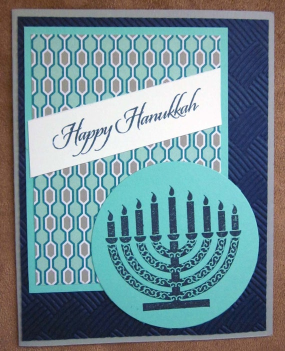 Set of 4 Happy Hanukkah cards; Jewish holiday cards; featuring menorah