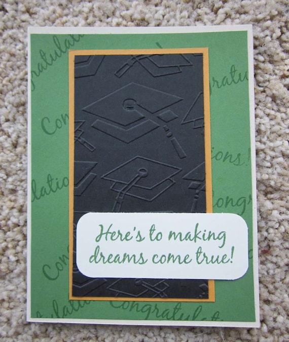 Graduation card; handmade graduation card; card for school graduate; cap and gown card; congrats graduate card; inspiring graduation card