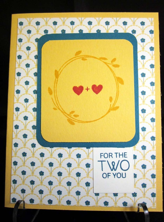 """Handmade Wedding Card in yellow and turquoise featuring laurel wreath, """"for the two of you""""; Stampin Up Wedding Card"""
