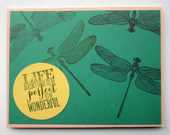 Encouragement card; inspirational card; blank greeting card; Stampin' Up! card; dragonflies; dragonfly card