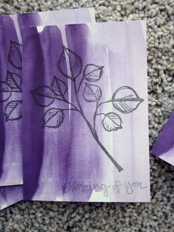 Set of 4 Thinking of You cards / Stampin Up Note Cards / 4 Blank Cards / Purple Cards / Thinking of You Note Cards / Card Set