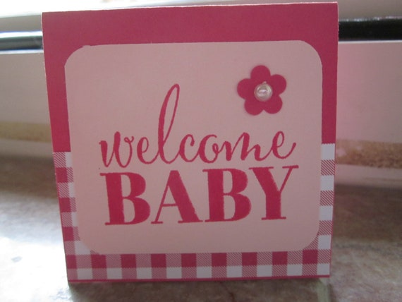 Handstamped Mini Card For Baby Girl Gift in Pink; Welcome Baby card; Stampin' Up! baby girl card; baby girl greeting card