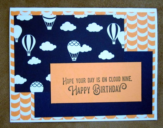 Handmade Birthday Card with hot air balloons; birthday balloon card