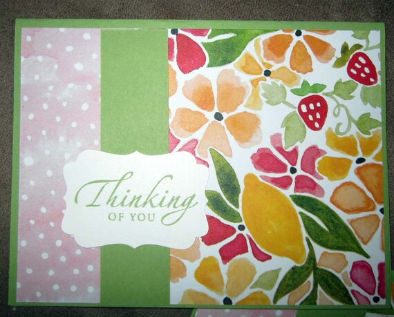 Handmade Brightly Colored Thinking of You Card.  Suitable for everyday or get well; Stampin' Up! thinking of you card; just checking in card