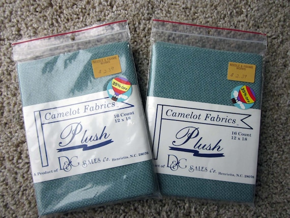 Camelot Fabrics 16 count cross stitch cloth, 12 x 18 inches /  Blue-gray needlework cloth