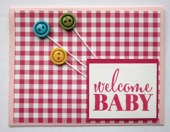 Welcome Baby Girl card; handmade baby card for girl; Stampin' Up! handmade baby card; button balloon baby girl card