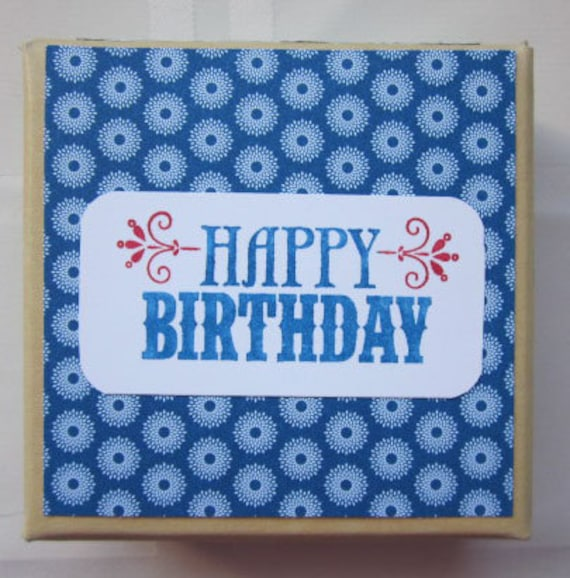 Decorated Gift Box in Blue with Happy Birthday for Fun Present  or even Keepsake Storage; archival storage box; Birthday Gift Box