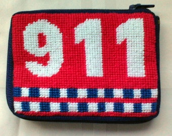Needlepoint Emergency Information Coin Purse / Drivers License Wallet; 911 Wallet/Emergency Information Pouch