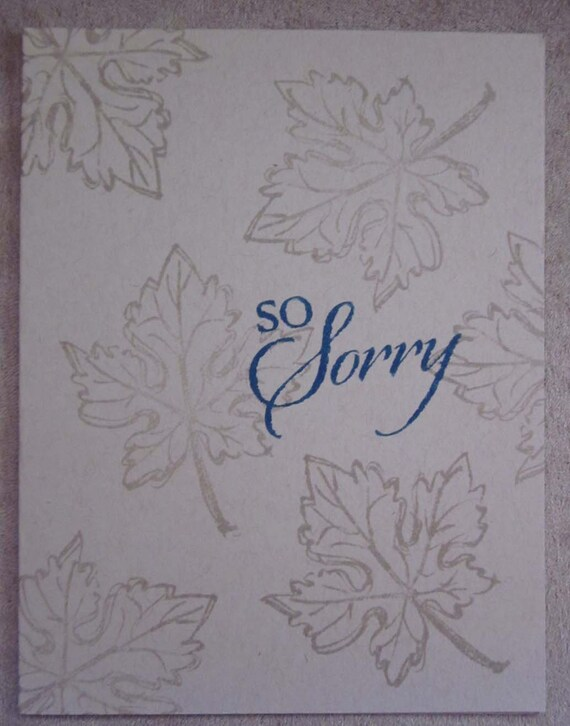 Sympathy/Sorry card handstamped; handmade So Sorry card; Stampin' Up! card; condolences card; fall leaf sympathy card