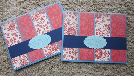 Handmade Love, Wedding, Anniversary, Valentine Card in Light Blue and Navy with Red and White Floral Patterned Paper / Stampin Up! Love Card