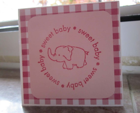 Handstamped Mini Card For Baby Girl Gift in Pink; Sweet Baby card; Stampin' Up! baby girl card; baby girl greeting card
