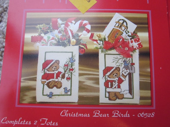 Counted Cross Stitch patterns for Christmas Teddy Bears / Small Cross Stitch projects / Madison Avenue totes cross stitch