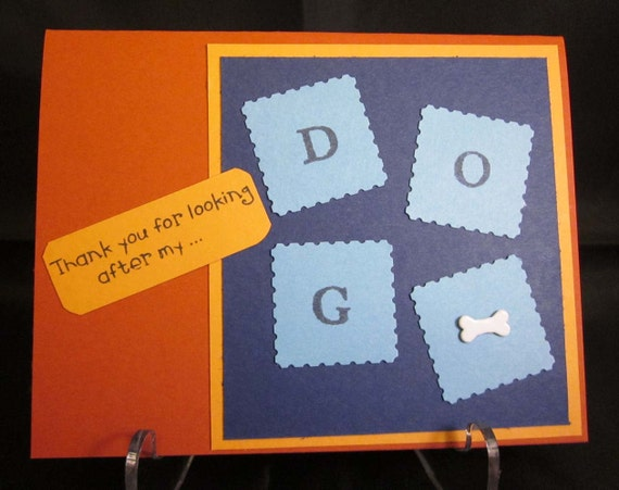Handmade Thank You Card for Dog Sitter; pet sitter thank you card; card for pet sitter; dog lover card