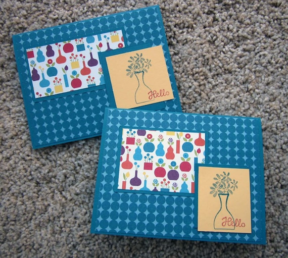 Set of 2 Handmade Notecards; Clean and Simple Handmade Blank Note Cards; Hello Greeting Cards