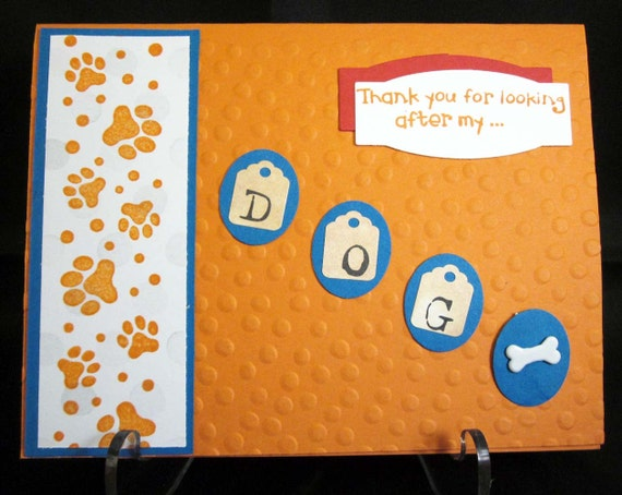 Handmade Thank You Card for Dog Sitter; thank you for pet sitter; dog sitter thank you; pet sitter thank you; dog lover card