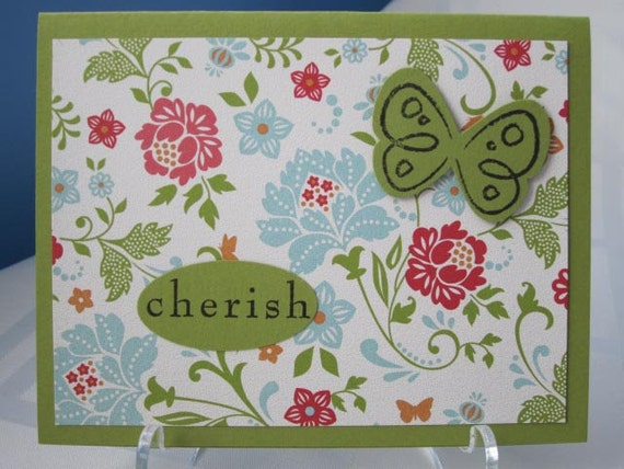 Handmade Love / Cherish Greeting Card featuring Floral Printed Paper and Butterfly in Green and Multi