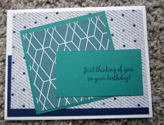 Handmade Birthday card / masculine birthday card / Stampin' Up! birthday card / Just Thinking of You card / birthday card for man
