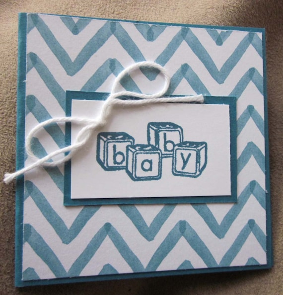 Handstamped Mini Card For Baby Boy Gift in Blue; Baby Blocks Baby card; Stampin' Up! baby boy card; baby boy greeting card