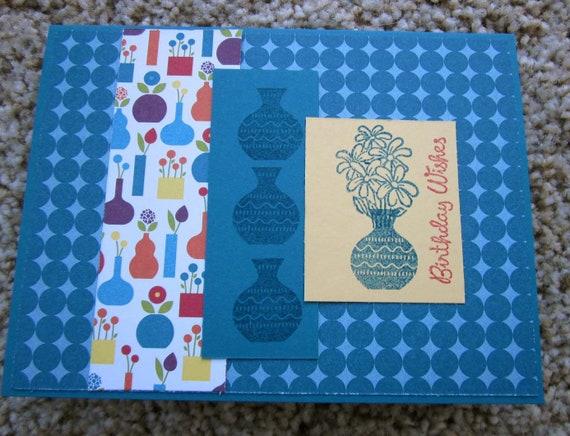 Handmade Birthday Card / Flower Vase Birthday Card / Birthday Card for Woman / Birthday Wishes Card
