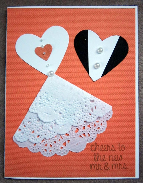 "Handmade Wedding Card with ""bride and groom"" hearts / Stampin Up Wedding Card"