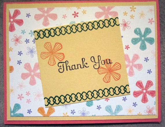 Handmade Thank You Card; Stampin' Up! thank you card; flower thank you card