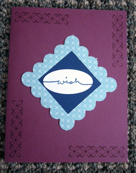 "Handmade Inspirational Greeting Card with the word ""Wish"" in Blues and Raspberry; Stampin' Up! wish card; encouragement cards; wish card"