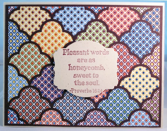 Handmade Inspirational Greeting Card with Proverbs 16:24 - Pleasant words are as honeycomb... - in Multicolored, Brown and White