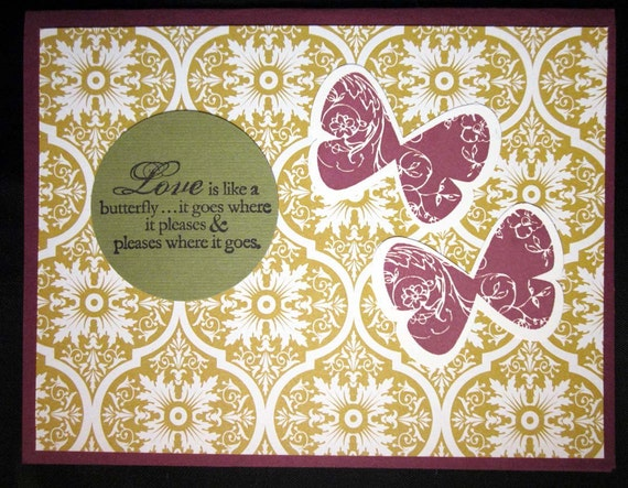 Handmade Love Greeting Card with Butterflies in Gold, Purple and Green; Stampin Up Love Card