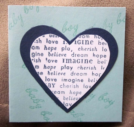 Handstamped Mini Card For Baby Boy Gift in Blue; Stampin' Up! baby boy card; baby boy greeting card; heart baby boy card
