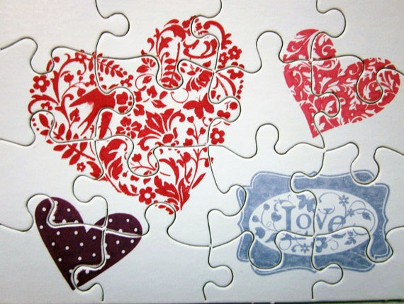 Small Jigsaw Puzzle With Hearts and Love Stamp, Write Your Own Heartfelt Message on the Back and Send in Handmade Envelope