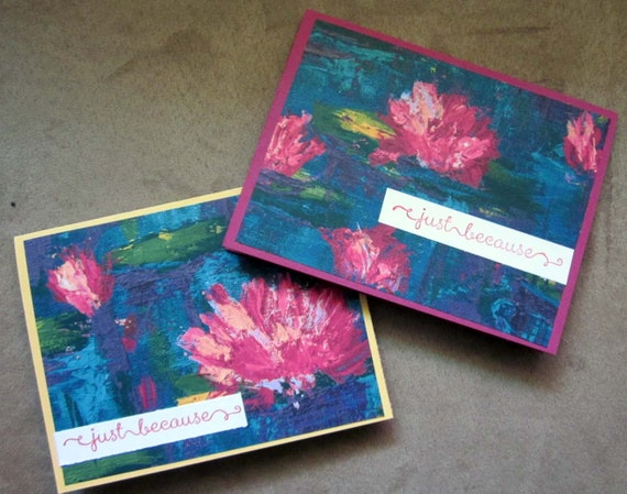 """Set of 2 Blank Handmade Notecards with phrase """"just because""""; Clean and Simple Handmade Blank Note Cards; Perfect for Gardener/Nature Lovers"""