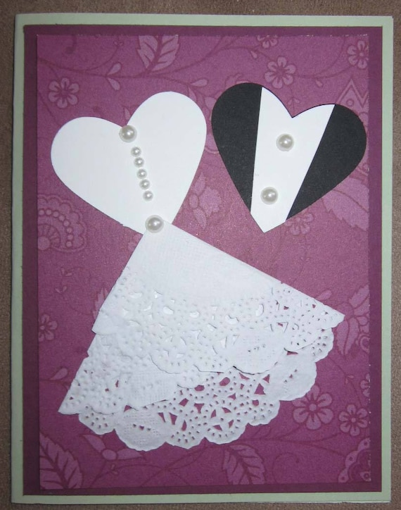"Handmade Wedding Card with ""bride and groom"" hearts / Stampin' Up! Wedding Card / Mr. and Mrs. card"