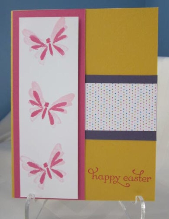 Handstamped Easter Card with Three Pink Butterflies on Yellow Card Stock; Stampin' Up! Easter card; Happy Easter card