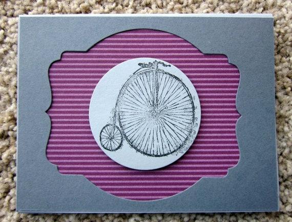 Handmade greeting card; handmade card with bicycle; handmade greeting card with Penny-farthing bicycle; Blank greeting card