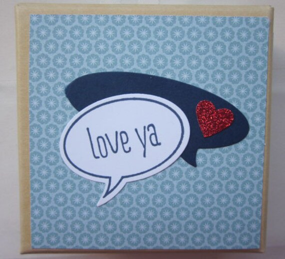 Decorated Gift Box in Blue with phrase Love Ya for Valentine or Fun Present  or even Keepsake Storage; archival storage box