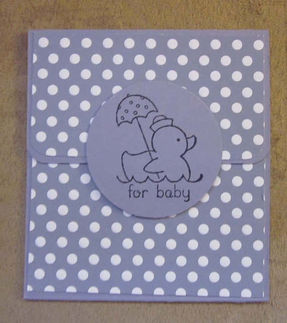 "Handmade Gift Card Holder for Baby; Baby Shower Gift Card Holder; Gender Neutral Baby Gift Card Holder ""For Baby""; Stampin Up"