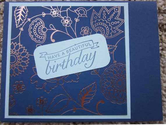 Happy Birthday card / handmade birthday card / blue birthday card / Stampin' Up! birthday card / blank birthday card / beautiful birthday