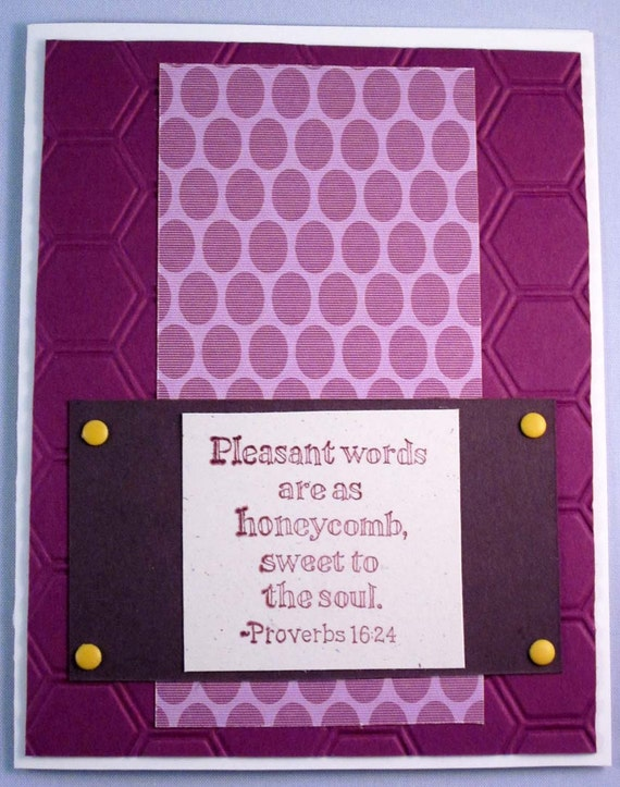 Handmade Inspirational Greeting Card with Proverbs 16:24 - Pleasant words are as honeycomb... - in Raspberry, Brown and White