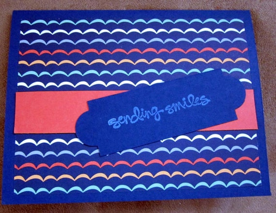 "Handmade Greeting Card with phrase ""sending smiles""; clean and simple hello card; Stampin' Up! hello card; smile card"