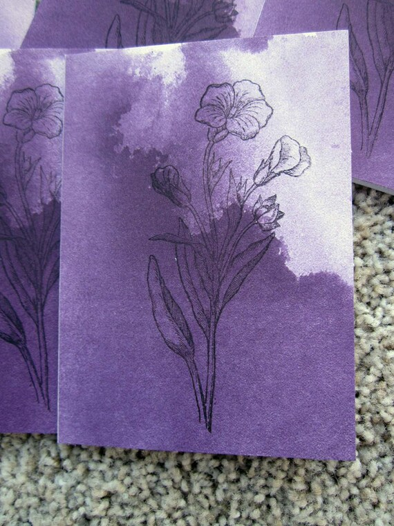 Set of 5 Blank Cards / Card Set / Stampin' Up! Card Set / Purple Flower Card Set / Clean and Simple Card Set