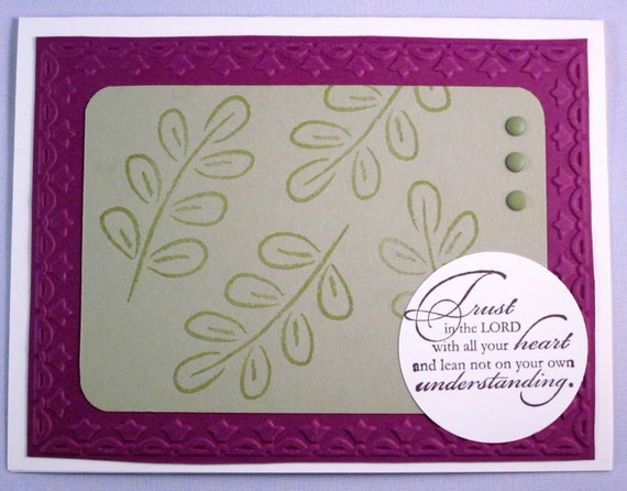 Handmade Inspirational Greeting Card in Raspberry and Green - Trust in the Lord with all your heart