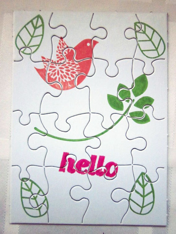 Small Jigsaw Puzzle With Bird and Leaves, Write Your Own Message on the Back and Send in Handmade Envelope